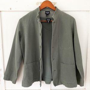 Eileen Fisher green two-piece top tank jacket PetM